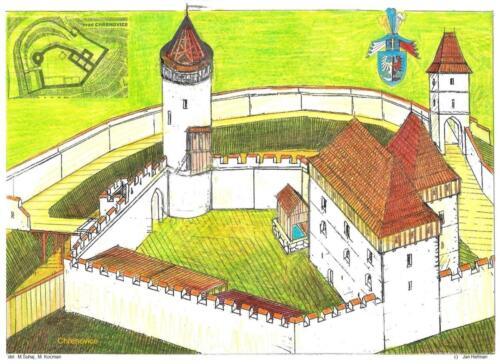 13 Chřenovice -II, stavební etapa , kresba Jan Heřman